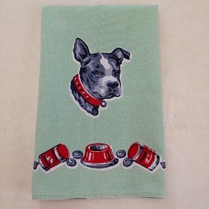 VINTAGE Dog Towel, Green, Cotton